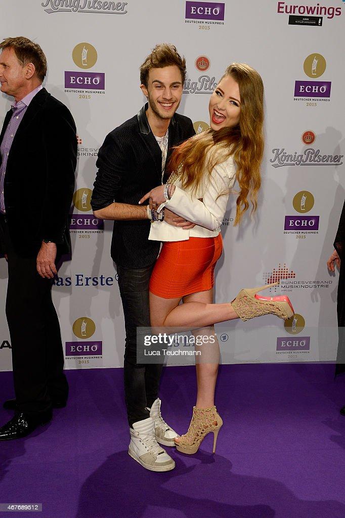 Joelina Drews and her boyfriend Marc Aurel Zeeb attends the Echo Award 2015 - Red Carpet Arrivals on March 26, 2015 in Berlin, Germany.