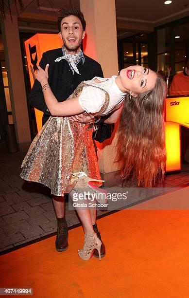 Joelina Drews and her boyfriend Marc Aurel Zeeb during the SIXT fashion dinner at Nockherberg on March 24 2015 in Munich Germany