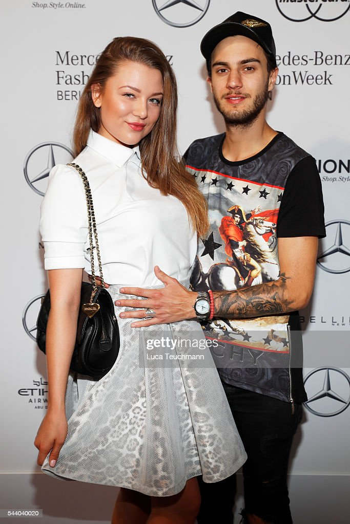 Joelina Drews and Marc Aurel Zeeb attend the Lana Mueller show during the Mercedes-Benz Fashion Week Berlin Spring/Summer 2017 at Erika Hess Eisstadion on July 1, 2016 in Berlin, Germany.