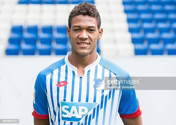 Joelinton poses during the team presentation of 1899 Hoffenheim at Wirsol RheinNeckarArena on July 14 2015 in Sinsheim Germany