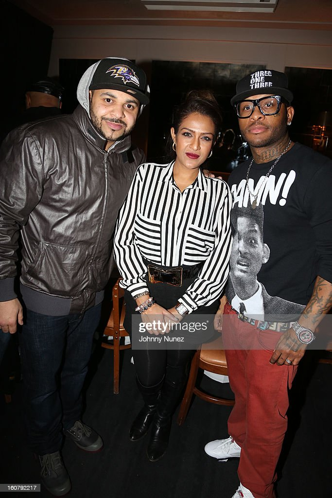 Joell Ortiz, Ainy Naim and Royce da 5'9 attend Joe Budden's 'No Love Lost' album release dinner at Abe & Arthur's on February 5, 2013 in New York City.