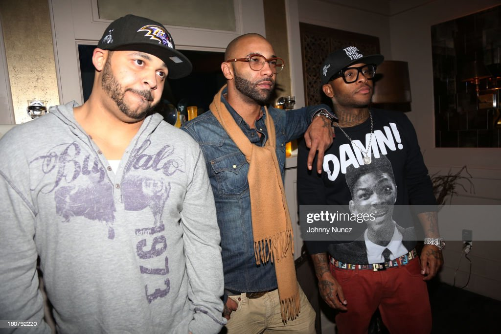 Joell Ortiz, Joe Budden and Royce da 5'9 attend Joe Budden's 'No Love Lost' album release dinner at Abe & Arthur's on February 5, 2013 in New York City.