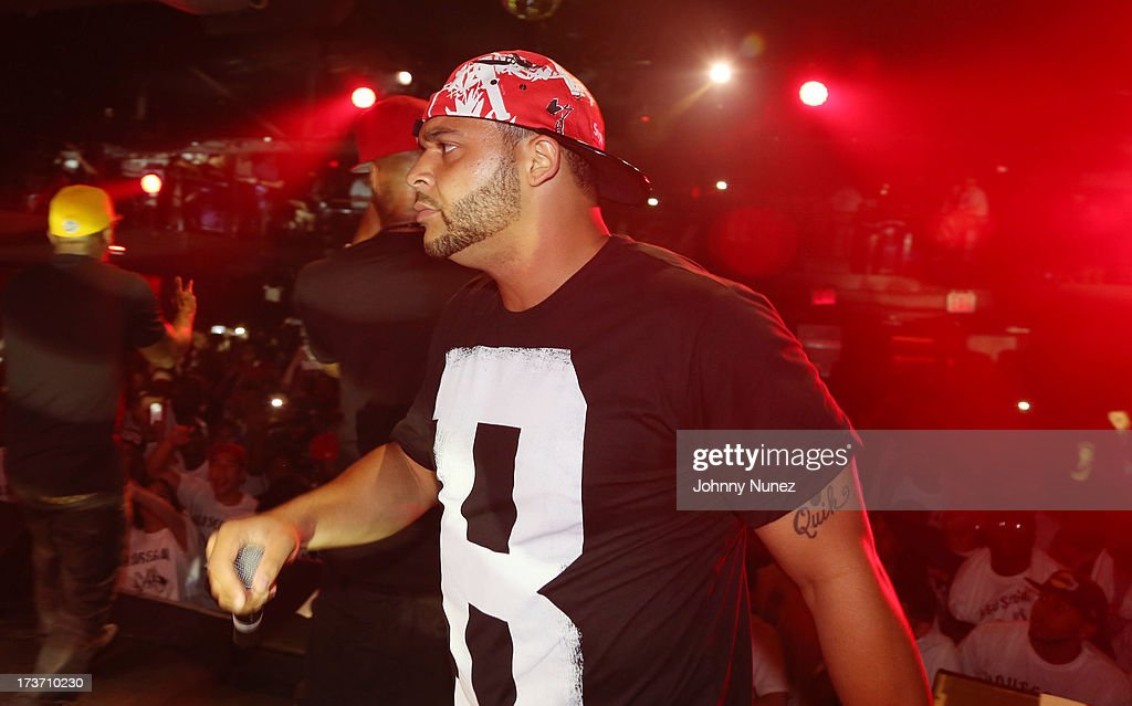 <a gi-track='captionPersonalityLinkClicked' href=/galleries/search?phrase=Joell+Ortiz&family=editorial&specificpeople=4417373 ng-click='$event.stopPropagation()'>Joell Ortiz</a> of Slaughterhouse performs at Highline Ballroom on July 16, 2013 in New York City.