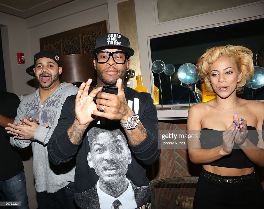 Joell Ortiz, Royce da 5'9 and Kaylin Garcia attend Joe Budden's 'No Love Lost' album release dinner at Abe & Arthur's on February 5, 2013 in New York City.