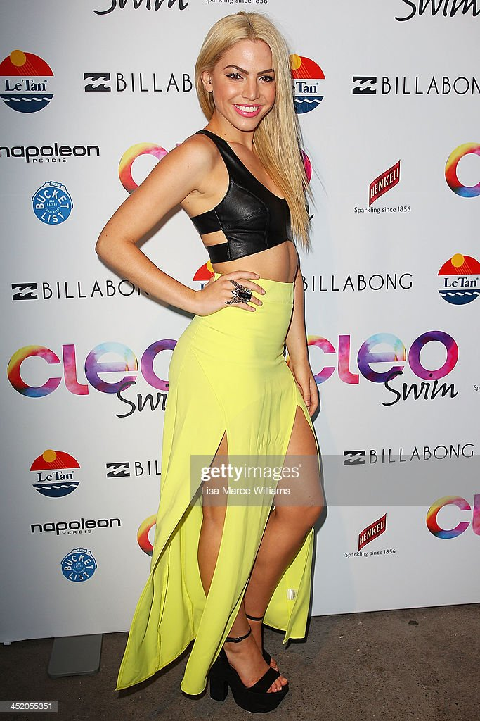 Joelle arrives at the 2013 CLEO Swim Party at The Bucket List on November 26, 2013 in Sydney, Australia.