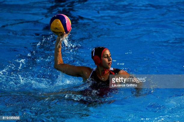 Joelle Bekhazi of Canada in action during the Women's Water Polo Group A preliminary round match between Brazil and Canada on day seven of the...