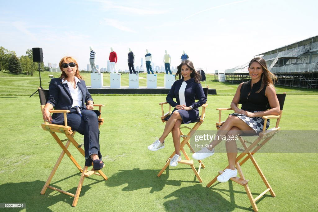 Joelle Grunberg, LACOSTE CEO (L), Anisha Mukherjee of Golf.com (C) and Tiffany Oshinksky attend LACOSTE 'Official Apparel Provider' unveiling during 2017 Presidents Cup Media Day at Liberty National Golf Club on August 21, 2017 in Jersey City, NJ.