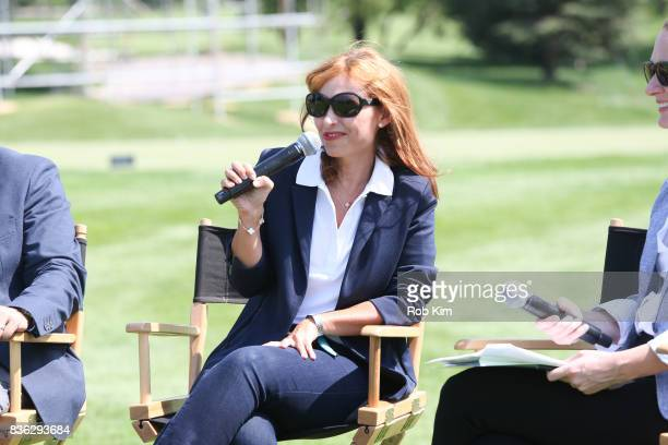 Joelle Grunberg LACOSTE CEO attends LACOSTE 'Official Apparel Provider' unveiling during 2017 Presidents Cup Media Day at Liberty National Golf Club...
