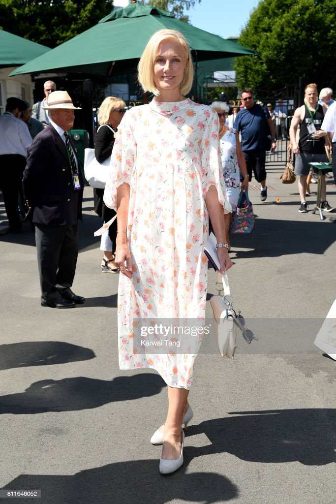 Joely Richardson attends day seven of the Wimbledon Tennis Championships at the All England Lawn Tennis and Croquet Club on July 10, 2017 in London, United Kingdom.