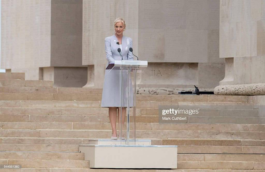 <a gi-track='captionPersonalityLinkClicked' href=/galleries/search?phrase=Joely+Richardson&family=editorial&specificpeople=201859 ng-click='$event.stopPropagation()'>Joely Richardson</a> gives a reading at a Commemoration of the Centenary of the Battle of the Somme at The Commonwealth War Graves Commission Thiepval Memorial on July 01, 2016 in Thiepval, France.