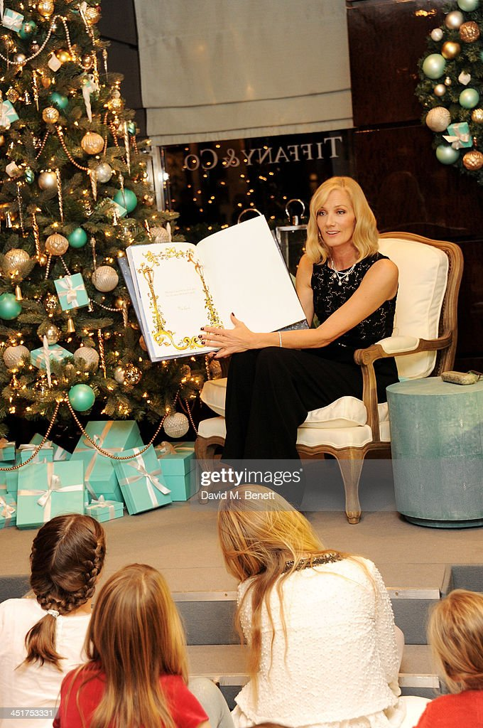 Joely Richardson reads to children as she officially opens the Tiffany & Co. Christmas Shop on Bond Street, London on November 24, 2013 in London, England.