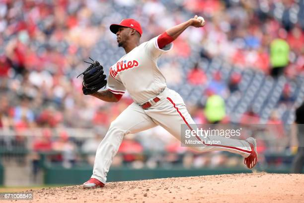 Joely Rodriguez of the Philadelphia Phillies pitches during the game against the Washington Nationals at Nationals Park on April 16 2017 in...