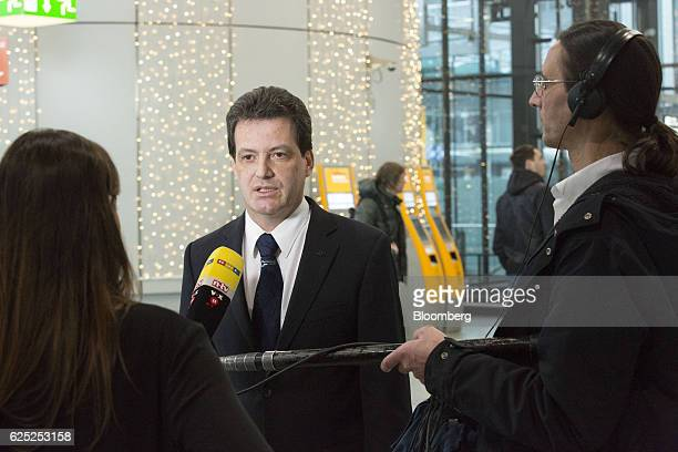 Joerg Handwerg spokesman of Vereinigung Cockpit union speaks to journalists as Deutsche Lufthansa AG pilots strike over renumeration and work...
