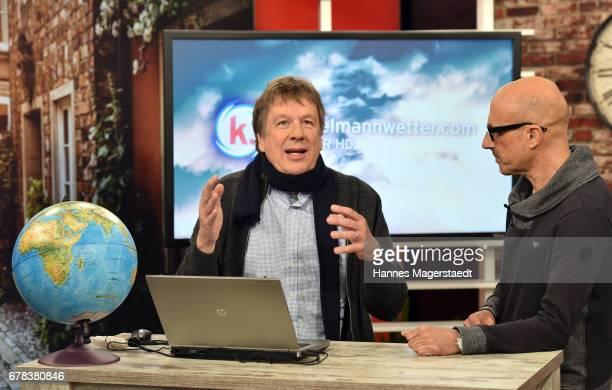 Joerg Kachelmann and Goofy Foerster during the photo call for the show 'Kachelmannwetter' at sonnenklarTV studios on May 4 2017 in Munich Germany...