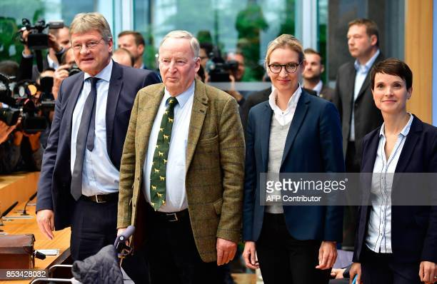 Joerg Meuthen coleader of Germany's nationalist Alternative for Germany party AfD top candidate Alexander Gauland AfD top candidate Alice Weidel and...