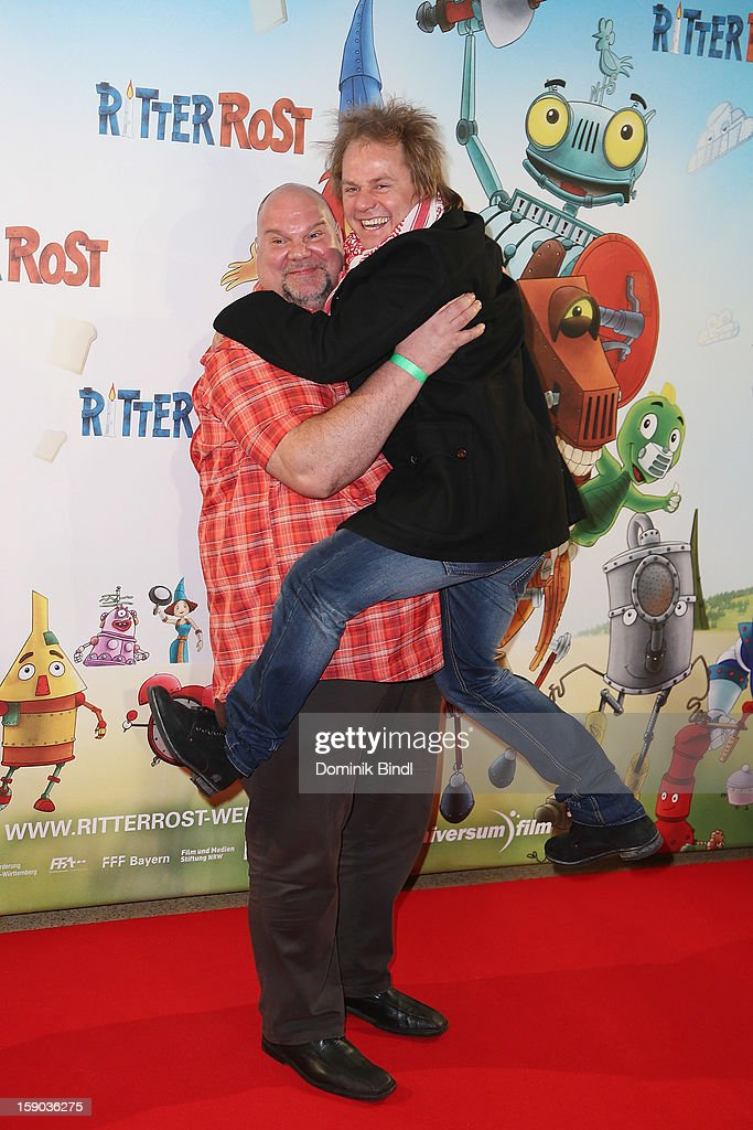 Joerg Moukaddam and Dustin Semmelrogge attends the Ritter Rost Premiere on January 6, 2013 in Munich, Germany.