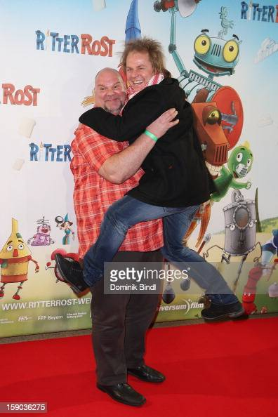 Joerg Moukaddam and Dustin Semmelrogge attends the Ritter Rost Premiere on January 6 2013 in Munich Germany