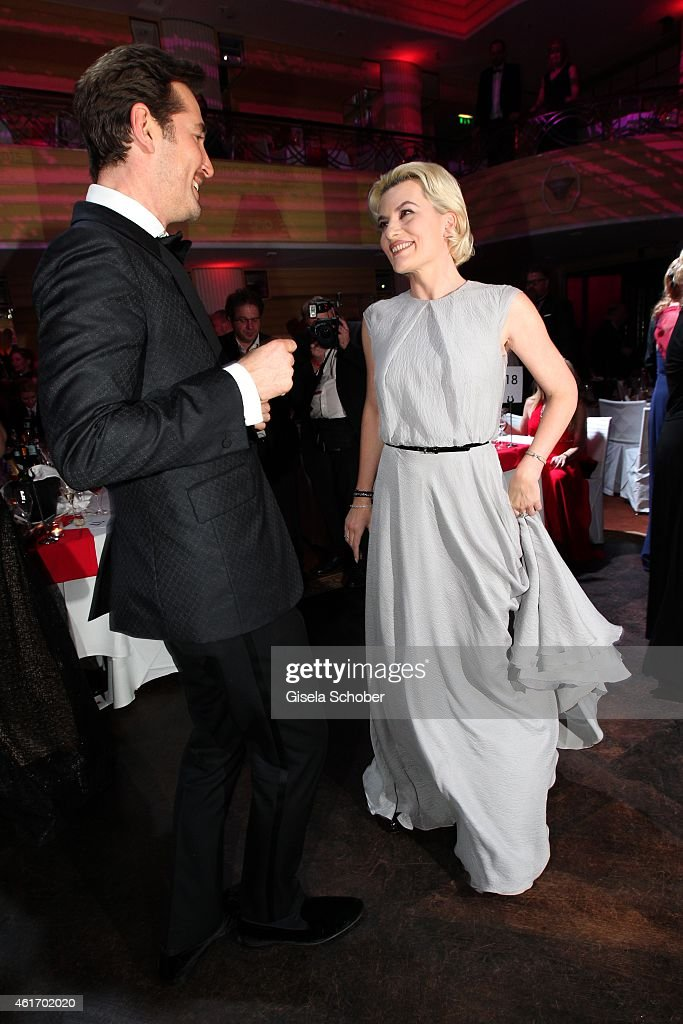 Joerg Oppermann, Kriemhild Siegel dancin during the German Filmball 2015 at Hotel Bayerischer Hof on January 17, 2015 in Munich, Germany.