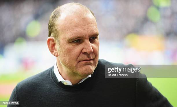 Joerg Schmadtke manager of Cologne looks on during the Bundesliga match between Hamburger SV and 1 FC Koeln at Volksparkstadion on February 7 2016 in...