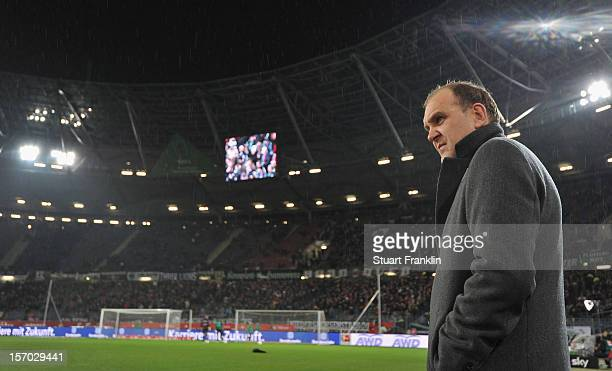 Joerg Schmadtke manager of Hannover looks on during the Bundesliga match between Hannover 96 and SpVgg Greuther Fuerth at AWD Arena on November 27...
