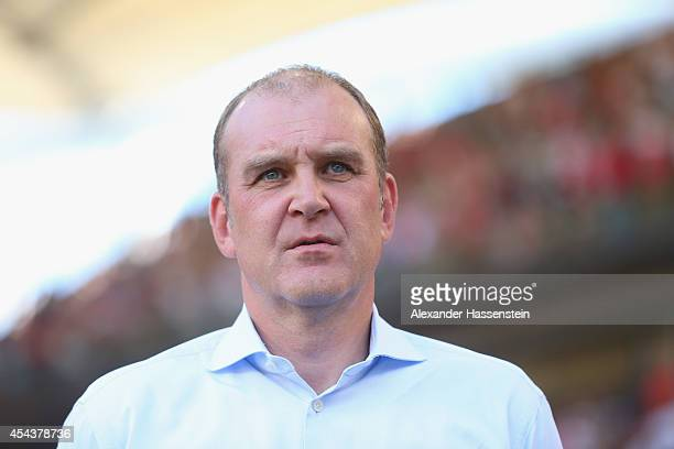 Joerg Schmadtke manager of Koeln looks on prior to the Bundesliga match between VfB Stuttgart and 1 FC Koeln at MercedesBenz Arena on August 30 2014...