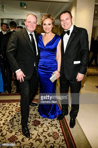 Joerg Thadeusz Caren Miosga and her husband Tobias Grob attend the Bundespresseball 2015 at Hotel Adlon on November 27 2015 in Berlin Germany