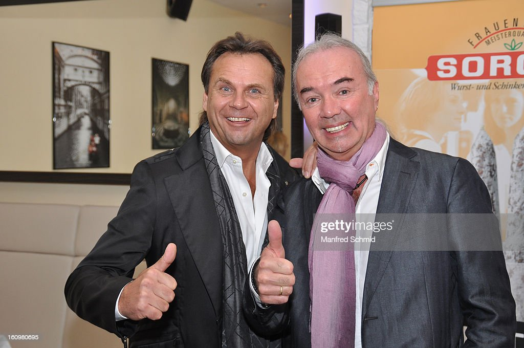Joerg Wolf and Willi Dussmann attend the 'Peter Rapp Show 50th Anniversary On Stage' press converence at Al Centro Vienna on February 8, 2013 in Vienna, Austria.