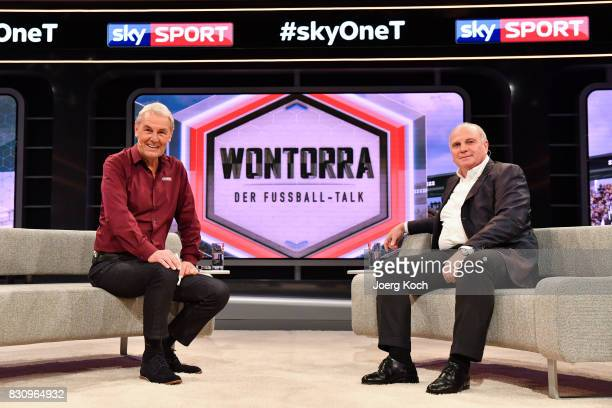 Joerg Wontorra talks to Uli Hoeness during the first airing of the new talk show 'Joerg Wontorra und Gaeste' on August 13 2017 in Munich Germany