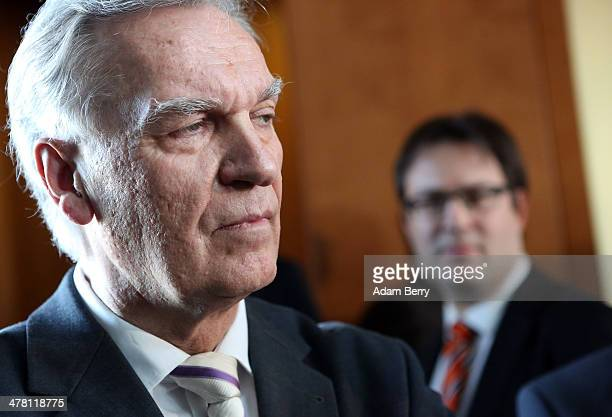 Joerg Ziercke President of the German Federal Crime Office leaves a hearing after testifying at the Interior Commission of the Bundestag in the...