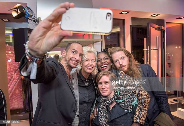 Joerg Zuber Ellen von Unwerth Nikeata Thompson and friends take a selfie during the MCM Space Odyssey Event at Frankfurt Opera Store with the...