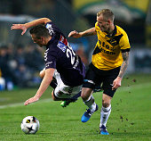 Joeri de Kamps of NAC and Wesley Verhoek of Go Ahead Eagles battle for the ball during the Dutch Eredivisie match between NAC Breda and Go Ahead...