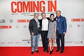 Joern Kubiki Marco Kreuzpaintner Aylin Tezel and Klaus Wowereit attend the 'Coming In' Premiere in Berlin on October 22 2014 in Berlin Germany