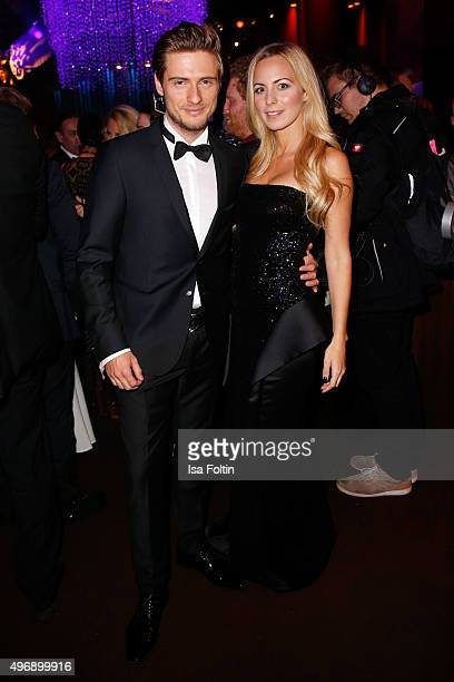 Joern Schloenvoigt and his girlfriend Syra Feiser attend the Bambi Awards 2015 party at Atrium Tower on November 12 2015 in Berlin Germany