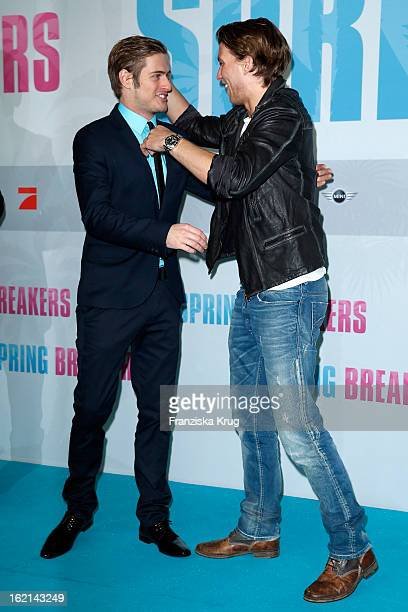 Joern Schloenvoigt and Raul Richter attend the German premiere of 'Spring Breakers' at the cinestar Potsdamer Platz on February 19 2013 in Berlin...