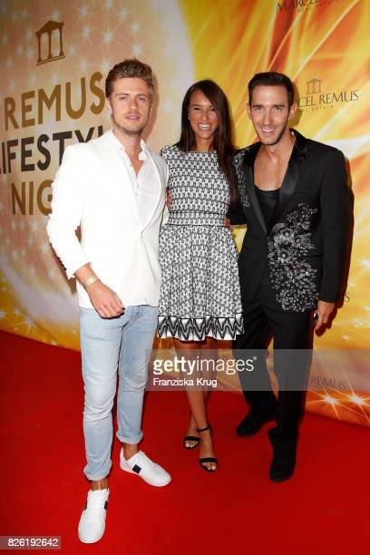 Joern Schloenvoigt Hanna Weig and Marcel Remus attend the Remus Lifestyle Night on August 3 2017 in Palma de Mallorca Spain