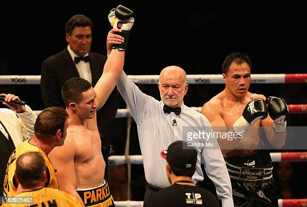 Joesph Parker celebrates his win by KO against Afa Tatupu during the New Zealand National Boxing Federation heavyweight title at the Trusts Arena on...