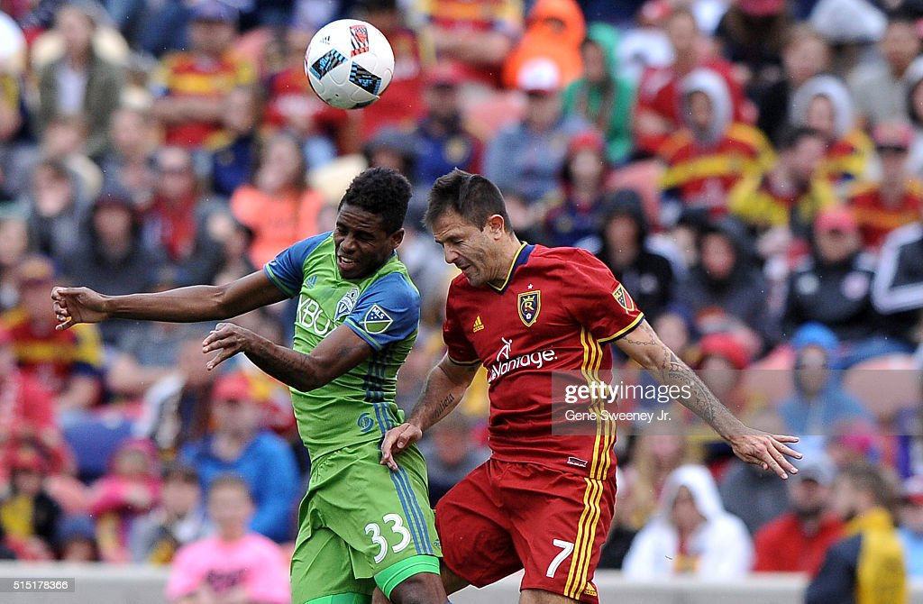 Joevin Jones #33 of Seattle Sounders FC and Juan Martinez #7 of Real Salt Lake try for the ball in the second half of a 2-1 win by Real Salt Lake at Rio Tinto Stadium on March 12, 2016 in Sandy, Utah.