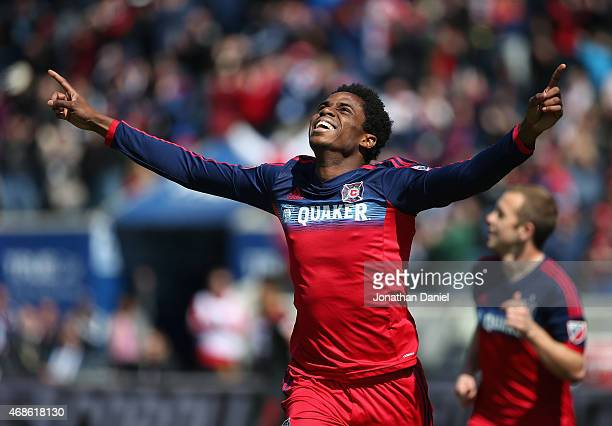 Joevin Jones of the Chicago Fire celebrates a first half goal against Toronto FC during an MLS match at Toyota Park on April 4 2015 in Bridgeview...