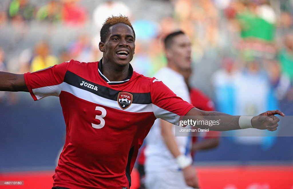 Joevin Jones of Trinidad Tobago celebrates a first half goal against Guatemala during a match in the 2015 CONCACAF Gold Cup at Soldier Field on July...