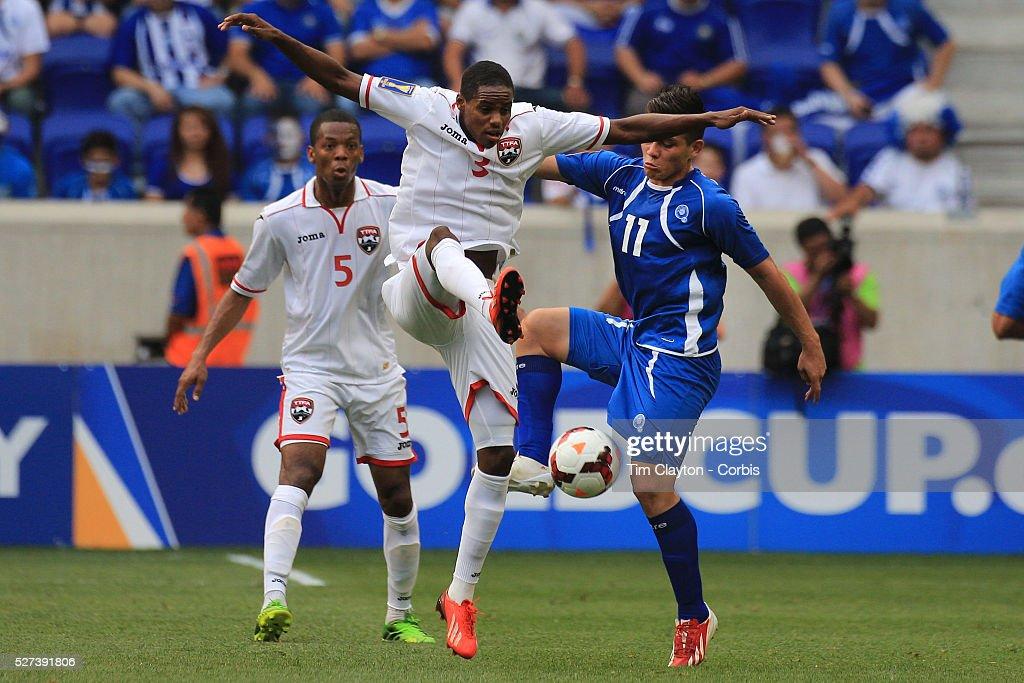 Joevin Jones Trinidad and Tobago challenges Rodolfo Zelaya El Salvador during the El Salvador Vs Trinidad and Tobago CONCACAF Gold Cup group B...