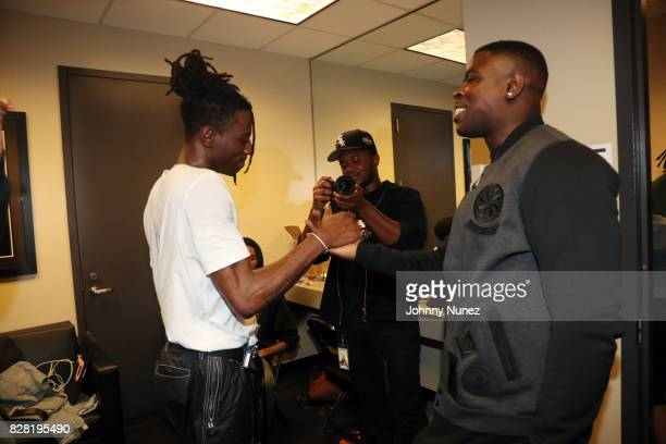 Joey Bada$$ and Casanova backstage at Barclays Center on August 8 2017 in New York City
