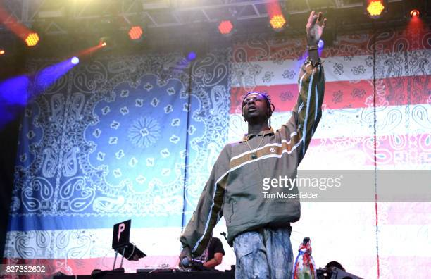 Joey Bada$$ performs during Lollapalooza 2017 at Grant Park on August 6 2017 in Chicago Illinois