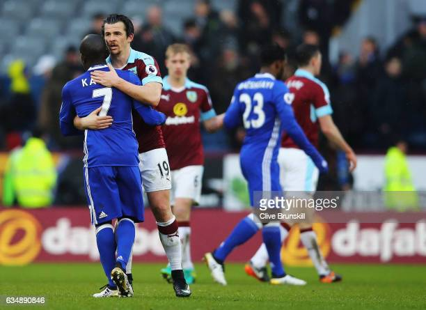 Joey Barton of Burnley and N'Golo Kante of Chelsea hug during the Premier League match between Burnley and Chelsea at Turf Moor on February 12 2017...