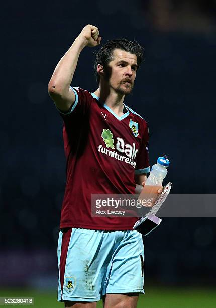 Joey Barton of Burnley celebrates after victory over Preston North End in the Sky Bet Championship match between Preston North End and Burnley at...