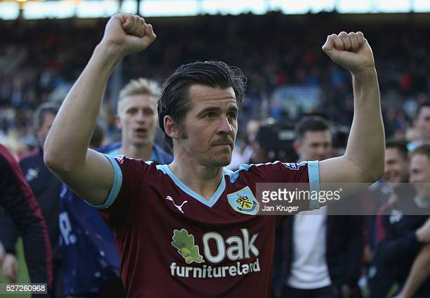 Joey Barton of Burnley celebrates as they are promoted to the Premier League after the Sky Bet Championship match between Burnley and Queens Park...