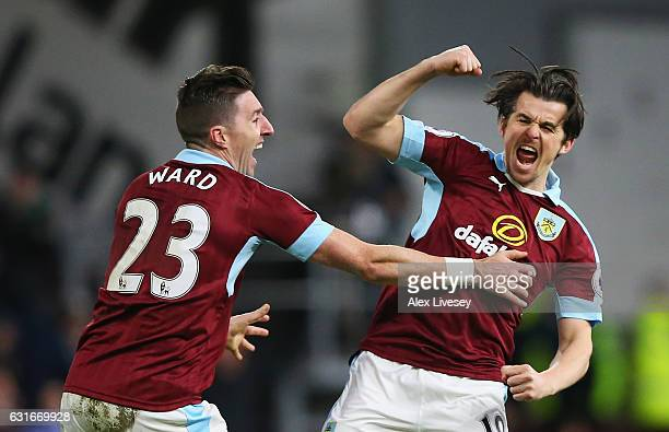 Joey Barton of Burnley celebrates scoring his sides first goal with Jeff Hendrick of Burnley during the Premier League match between Burnley and...