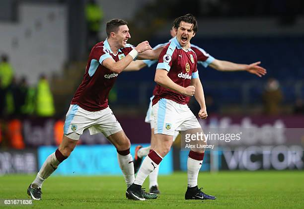 Joey Barton of Burnley celebrates scoring his sides first goal with his Burnley team mates during the Premier League match between Burnley and...