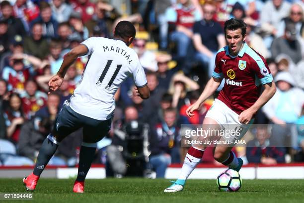 Joey Barton of Burnley during the Premier League match between Burnley and Manchester United at Turf Moor on April 23 2017 in Burnley England