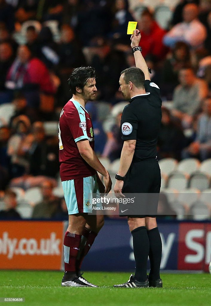 <a gi-track='captionPersonalityLinkClicked' href=/galleries/search?phrase=Joey+Barton&family=editorial&specificpeople=211284 ng-click='$event.stopPropagation()'>Joey Barton</a> of Burnley is booked by referee <a gi-track='captionPersonalityLinkClicked' href=/galleries/search?phrase=Kevin+Friend&family=editorial&specificpeople=2941162 ng-click='$event.stopPropagation()'>Kevin Friend</a> during the Sky Bet Championship match between Preston North End and Burnley at Deepdale on April 22, 2016 in Preston, England.