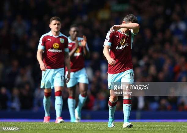 Joey Barton of Burnley is dejected after the Premier League match between Everton and Burnley at Goodison Park on April 15 2017 in Liverpool England